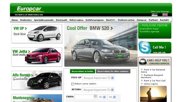 Europcar rent a car